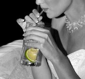 THE WOMAN WITH A COCKTAIL Stock Images
