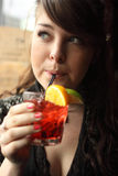 Woman with cocktail Stock Photos