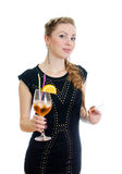 Woman with cocktail. Royalty Free Stock Images