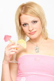 Woman and cocktail Royalty Free Stock Photos