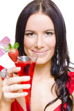 Woman With Cocktail Celebrating A Happy New Year Stock Photo