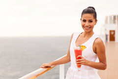 Woman cocktail cruise Stock Photo