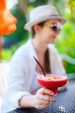 Woman with cocktail drink Royalty Free Stock Photo