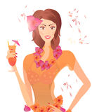 Woman with Cocktail and Flower Wreath stock illustration