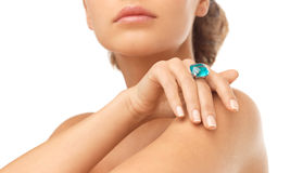 Woman with cocktail ring Stock Image