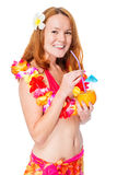 Woman with a cocktail in a traditional Hawaiian image on a white Royalty Free Stock Photography