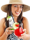 Woman with cocktails Royalty Free Stock Photos
