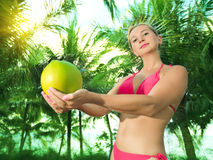 Woman with coconut Royalty Free Stock Photography