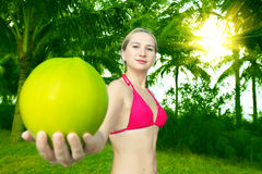 Woman with coconut Stock Photography