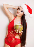 Woman with a coconut Royalty Free Stock Photos