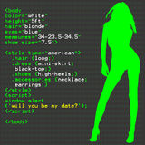 Woman in Code. A script of creating a model using HTML & CSS royalty free illustration