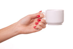Woman and a cofee mug. Royalty Free Stock Photos
