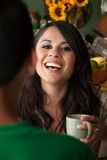 Woman with Cofee or Tea and Male Companion stock images