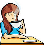 Woman with coffee. Young woman with coffee - illustration Royalty Free Stock Images