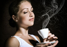 Woman with an coffee stock photography