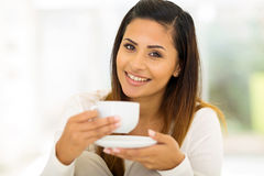 Woman coffee bedroom Royalty Free Stock Photography