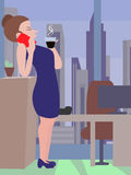 Woman at coffee break cartoon. Woman drinking coffee and talking with smartphone - funny cartoon Stock Photography