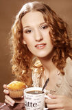 Woman with coffee and cake Royalty Free Stock Photos
