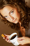 Woman with coffee and cookies Stock Photo