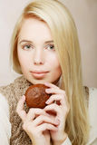 Woman with coffee and cookies Stock Images