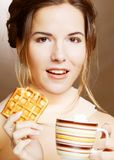 Woman with coffee and cookies Royalty Free Stock Photo