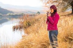 Woman coffee countryside Stock Photos