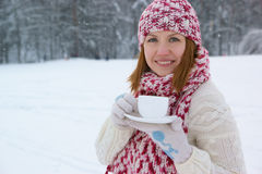 Woman with coffee cup Royalty Free Stock Photography