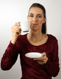 Woman with coffee cup Royalty Free Stock Images