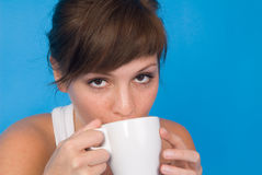 Woman and coffee cup Stock Image