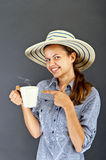 Woman with coffee cup Royalty Free Stock Photos