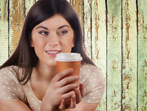 Woman with Coffee in  Cup Royalty Free Stock Image