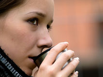 Woman and coffee cup Stock Photo
