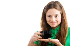 Woman with coffee cup Stock Photos