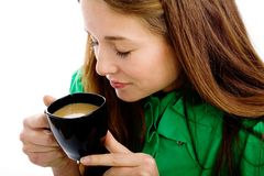 Woman with coffee cup Royalty Free Stock Image