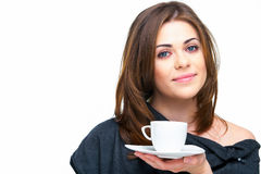 Woman with coffee cup isolated Royalty Free Stock Photography