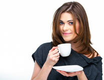 Woman with coffee cup isolated Stock Photography