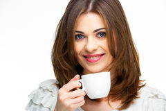 Woman with coffee cup isolated Royalty Free Stock Images