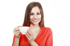 Woman coffee cup Royalty Free Stock Image