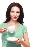 Woman coffee cup stock image