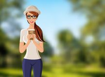 Woman with coffee cup portrait Royalty Free Stock Image