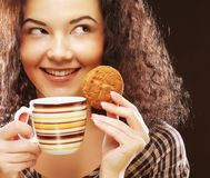 Woman with coffee and dessert royalty free stock photos