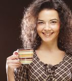 Woman with coffee and dessert stock images
