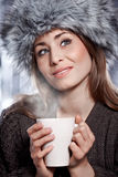 Woman with  coffee drink Stock Photography
