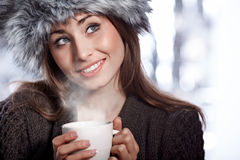 Woman with  coffee drink Stock Photos