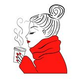 Girl drinking coffee, vector, sketch royalty free stock photography