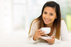 Woman Coffee In Bed Stock Photo