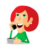 Woman on the phone. Woman with coffee and a phone, cartoon illustration Stock Image