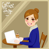 Woman In Coffee Shop Stock Image