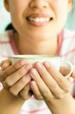 The woman with coffee Royalty Free Stock Images