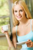 Woman with coffee or tea Stock Images